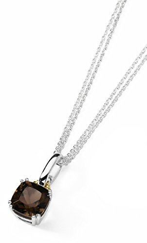 Boston Bay Diamonds 9x9MM Cushion Cut Smoky Quartz Gemstone Pendant Necklace in Sterling Silver with 18K Yellow Gold Accents, 17