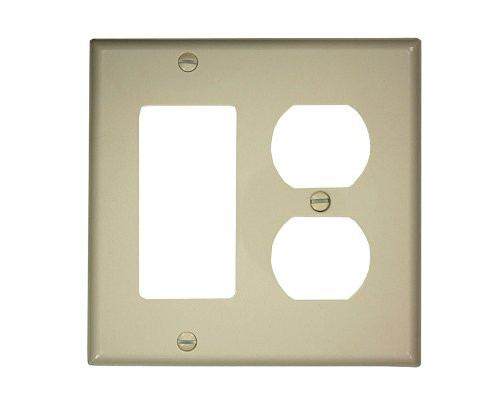 Leviton 80746-T 2-Gang 1-Duplex 1-Decora/GFCI Device Combination Wallplate, Standard Size, Thermoplastic Nylon, Light ()