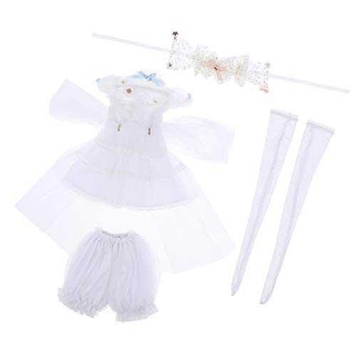 Prettyia 4pcs Lovely Princess Veil Dress Suit Party Dress White for 1/3 BJD Supia Doll Accessories