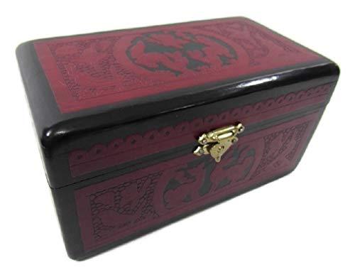 El Relicario de Los Tesoros Olinala Hand Carved Incised Medium Rectangle Lacquerware Wooden Stash Jewelry Trinket Storage Box Crafted in Mexico (Black-Red Traditional)