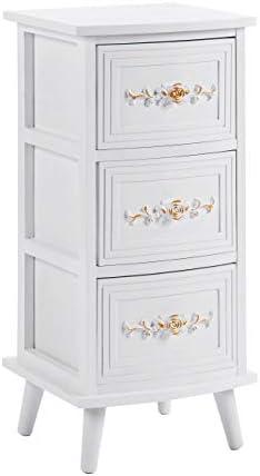ts-ideen - Cómoda con 3 cajones (70 x 32 cm), color blanco y dorado: Amazon.es: Juguetes y juegos