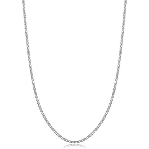Chain Platinum Wheat Solid - Kooljewelry Sterling Silver 1.5mm Round Wheat Chain Necklace (22 Inch)