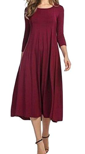 3 Lungo Coolred Vino Colore Puro metà Rosso Vestito 4 Donne Paletta Manica Da Collo Partito Di qAAzTwE