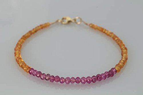 JP_Beads Mandarin Garnet & Pink Tourmaline Beaded Bracelet -