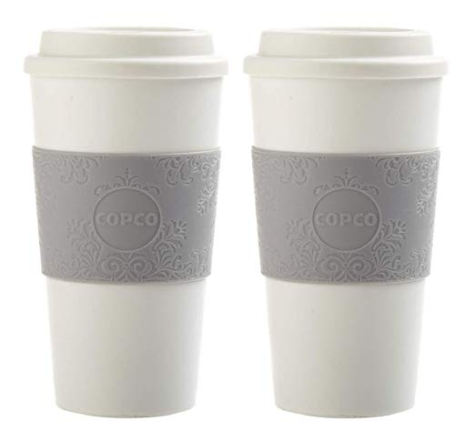 Copco Acadia Double Wall Insulated 16 oz Travel To Go Mug with Non-Slip Sleeve, Set of 2, Commuter Friendly, Drink On the Go (Damask Gray)