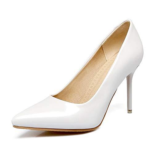 Hoesczs Dedo White Puntiagudo Mujer Grande Del Zapatos Bombas 30 Zapatillas De Delgados Pie Alto Tamaño Tacón 48 7rqa7w
