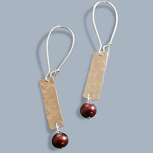 - cranberry pearl handmade lightweight hammered thin silvertone womens dangle earrings