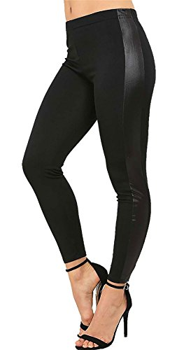 Rimi Hanger Women High Waist Wet Look Contrast Side Panel Legging Ladies Shiny Stretch Pants Black ()