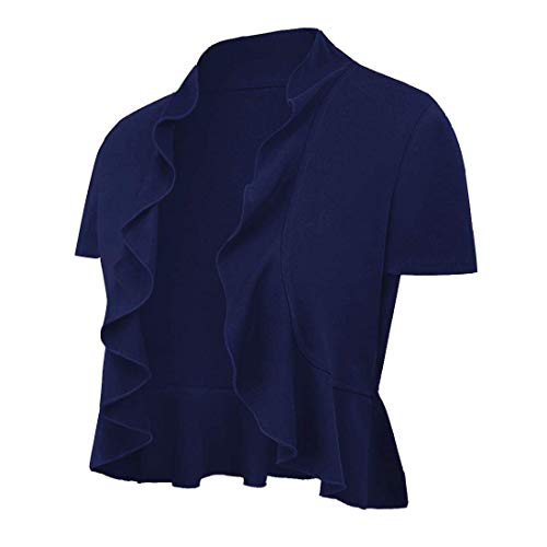 Women's Open Front Cropped Short Sleeve Cardigan Lightweight Draped Ruffle Bolero Shrugs for Dresses Navy Blue Large(10-12) ()