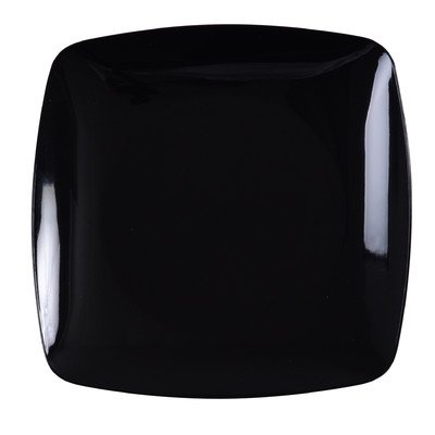 Fineline Settings 10-Piece Renaissance Rounded Square China-Like Plate, 10-Inch, Black