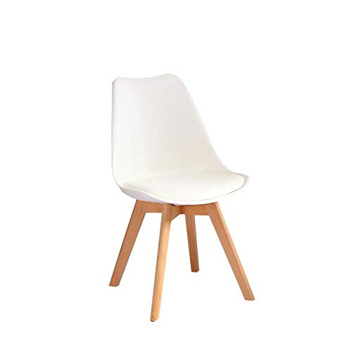 White Modern Minimalist Office Lounge Chair Solid Wood Dining Chair Desk Chair (Size  43  43  80cm)