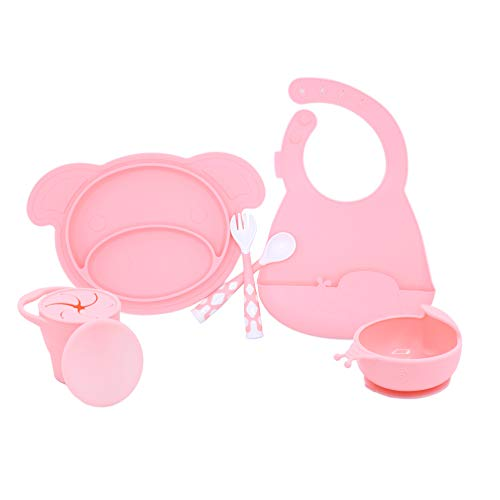 5 PC Silicone Dinnerware Baby Place Mat Cup Flatware Bowl Bib Fork and Spoon Anti Slip Easy to Clean Kids Placemat Fun Animal Shapes and Colors 5 Piece Set Pink (Pig)