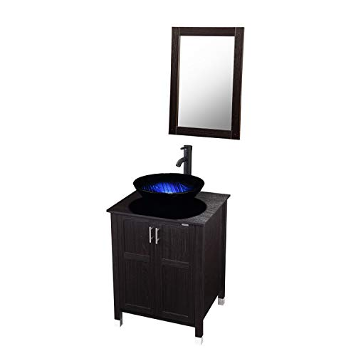 Modern Bathroom Vanity And Sink Combo Stand Cabinet with Vanity Mirror,Single MDF Cabinet with Blue Glass Vessel Sink Round - Stand Sink Vessel