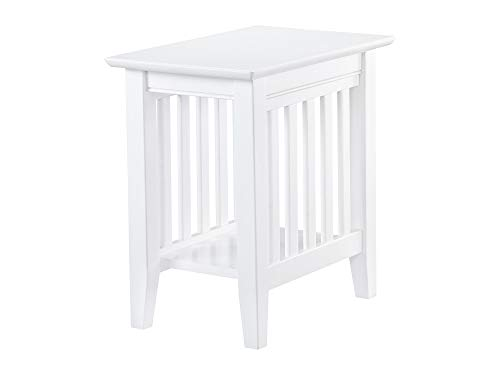 Atlantic Furniture AH13202 Mission Chair Side Table, - White Mission Nightstand