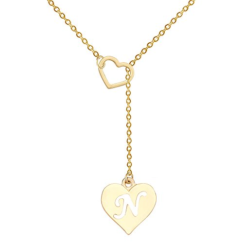SENFAI Long Necklace Heart Shaped Y Necklace with 26 Initial Alphabet Letters for Women, 18 + 2 inches (N, Gold -