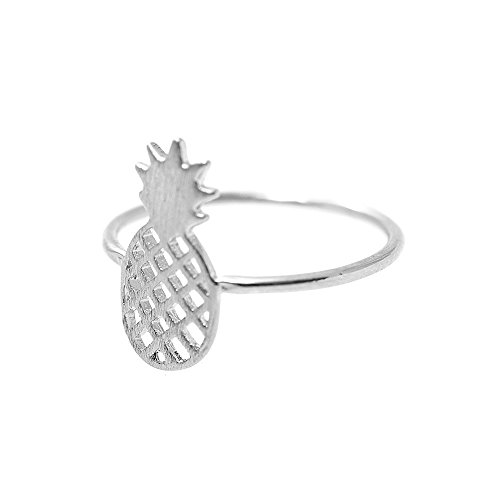 SpinningDaisy Handcrafted Brushed Metal Pineapple Fruit Ring - Ring Out Cut Crown