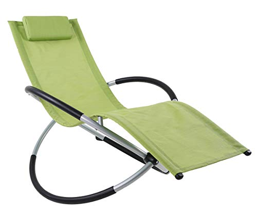 ukeacn Zero Gravity Folding Rocking Chair – Patio Chaise Lounge Lawn Reclining Portable Folding Chairs for Indoor&Outdoor Home Yard Pool Beach,Weight Capacity 330LB(Green)