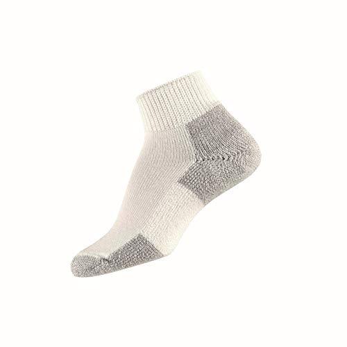 - Thorlos Unisex JMX Running Thick Padded Ankle Sock, White, Medium