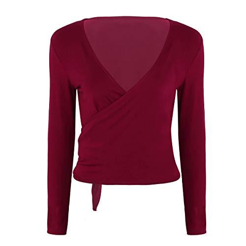 - ranrann Women's Long Sleeve Tie Wrap Tops Ballet Dance Shrug Cardigan Cover Up Sweaters Wine Red Medium