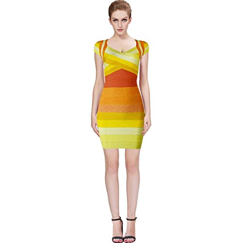 HLBCBG - Vestido - Sin mangas - para mujer amarillo