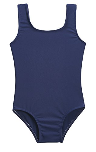 City Threads Girls' One Piece Swimming Suit With Sun Protection SPF For Beach Pool or Play Swim Suit Rash Guard Bottoms Briefs, Navy, 6 - Navy Blue Swimsuit