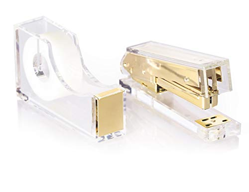 Gold Acrylic Lucite Stapler and Tape Dispenser Gift Set | Premium Clear Stationery and Office Desk Accessories | Elegant, Modern, High End, Chic, Luxury Office Goods | As Unique and Beautiful as You!