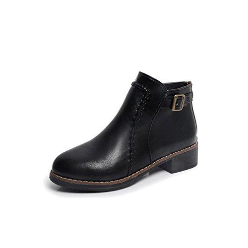 Botas Mujer,Ouneed ® Moda mujer plana tobillo botas de cuero botas de Martin motos Negro