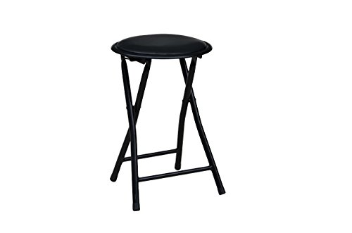 American Dream Home Goods Storage Solutions Cushioned Vinyl Black Folding Stool with Powder Coated Steel Tube Legs ()