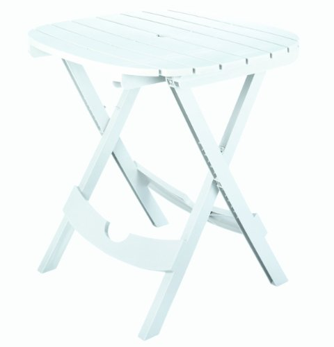 Adams Manufacturing 8550-48-3700 Quik-Fold Cafe Table, White (Resin Benches White Outdoor)