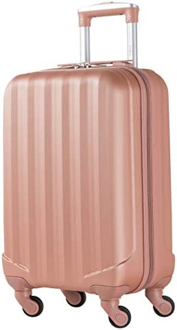 Flight Knight Suitcases Maximum For Delta, United SkyWest, Ultra Lightweight 4 Wheel ABS Hard Case Suitcases Carry On Hand Luggage – Cabin Rose Gold FFK05_ROSE_S
