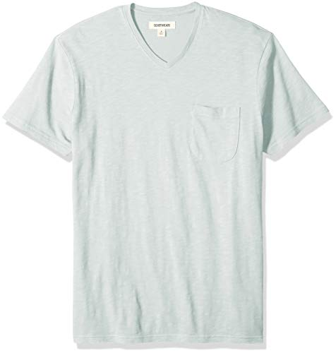 Goodthreads Men's Lightweight Slub V-Neck Pocket T-Shirt, -light aqua, Medium