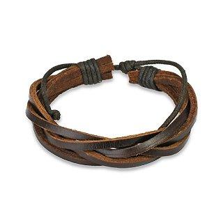 Brown Leather Bracelet with 5 Entangled Strips adjustable size sliding tie-knot closure