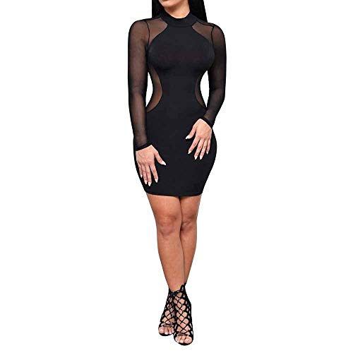 iLUGU Sexy Mini Dress for Women Long Sleeve O-Neck Transparent Back Bodycon Party Gown Black