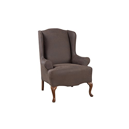 (Sure Fit Ultimate Stretch Leather - Wing Chair Slipcover - Weathered Saddle (SF44045))