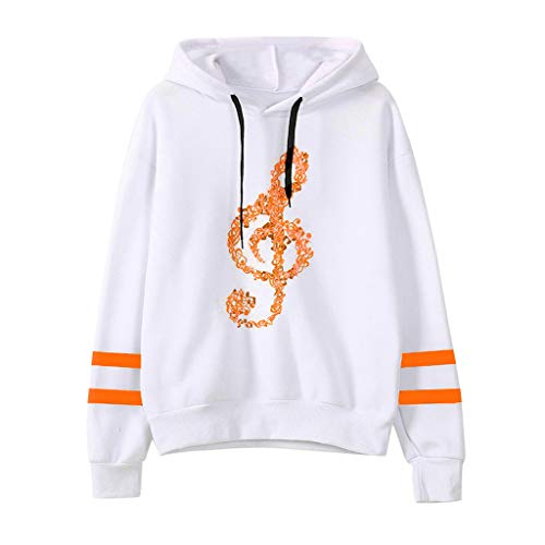 Sunhusing Ladies' Musical Notes Printing Long Sleeve Drawstring Hoodie Sweatshirt Pullover Top Orange