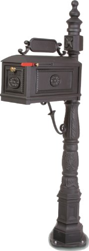 Victorian Barcelona Decorative Cast Aluminum Better Box Mailbox Black (Standard Cast Aluminum Mailbox Post)