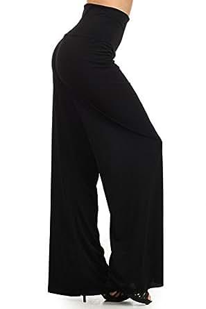 Soft Knit High Foldover Waist Wide Leg Yoga Palazzo Pants (Small)