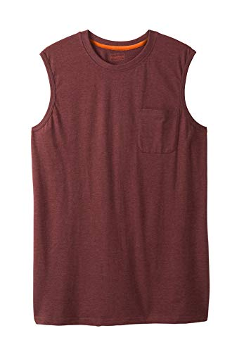 Boulder Creek Men's Big & Tall Heavyweight Pocket Muscle Tee, Heather Rich Burgundy Big-5XL ()