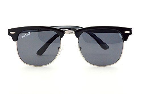 Polarized Black Smoke Mirrored Sunglasses Vintage Silver Trim Mens & Womens Design by Cali - Men Best Glasses Oval For Face