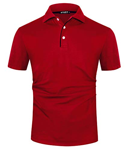 Musen Men Short Sleeve Polo Shirt Casual Slim Fit Polo Shirts Basic Summer Cotton Golf Sport Shirts Red XXL
