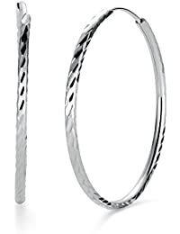 925 Sterling Silver Diamond-Cut Hoop Earrings, All Sizes Small and Large Mother's Day Gift
