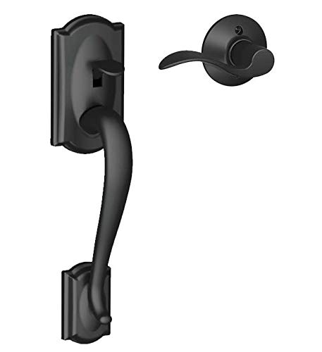 Lever Handle Brass Black - Schlage FE285 CAM 622 ACC RH Camelot Trim Lower Half Front Entry Handleset with Accent Right Hand Lever, Matte Black