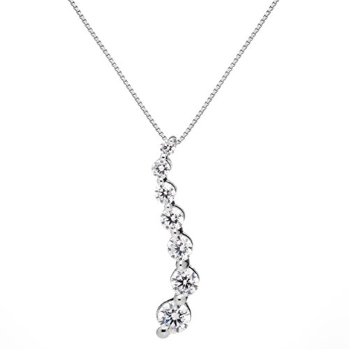 14K Solid White Gold Pendant Necklace | Round Cut Cubic Zirconia