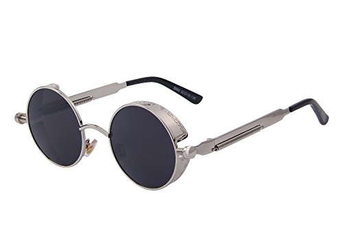 MERRY'S Gothic Steampunk Sunglasses for Women Men Round Lens Metal Frame S567(Silver&Black, (Steampunk Sunglasses)