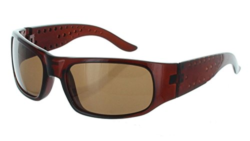 Men Sport Wrap Around Sunglasses Driving Motocycle Sport Golf Eyewear (Brown, - Oakely Golf