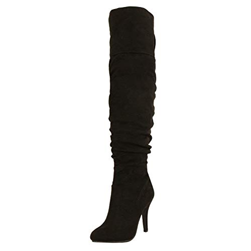 Forever Link Focus-36 Women's Fashion Stylish Pull On Over Knee High Sexy Boots,Black Suede,10 ()