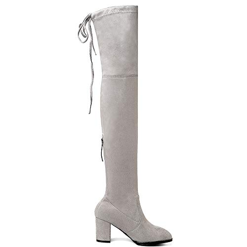 1 1 1 On Moda Pull ltgrigio Lydee Stivali Stivali Stivali Ginocchio Donne axSwKgvq