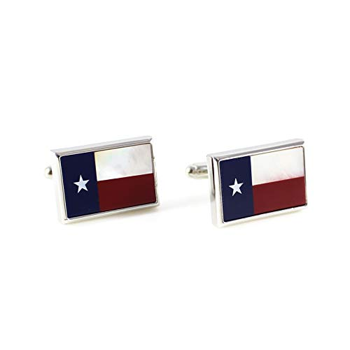 MENDEPOT Mother of Pearl and Stones Rectangle Texas States Flag Cuff Link with Box (Cuff Link)