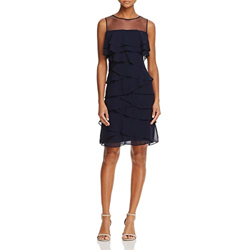 Adrianna Papell Women's Tiered Cocktail Dress, Blue Moon, 6