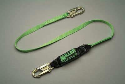 (Honeywell 913TWLS/6FTGK Miller Single Leg HP Lanyard with SofStop Shock Absorber with 2 Locking Snap Hooks, 6', Green)